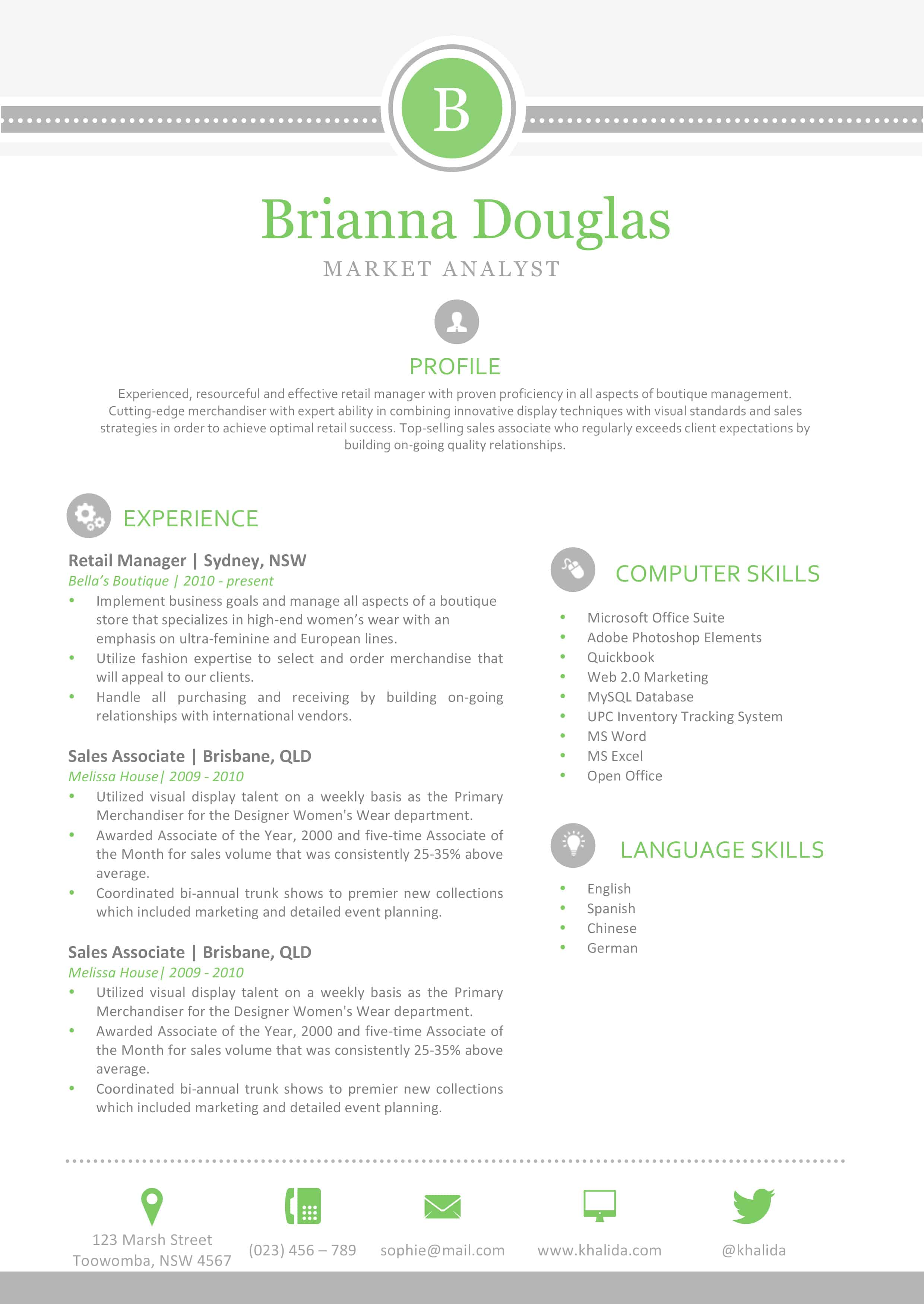 green and grey template. Resume Example. Resume CV Cover Letter