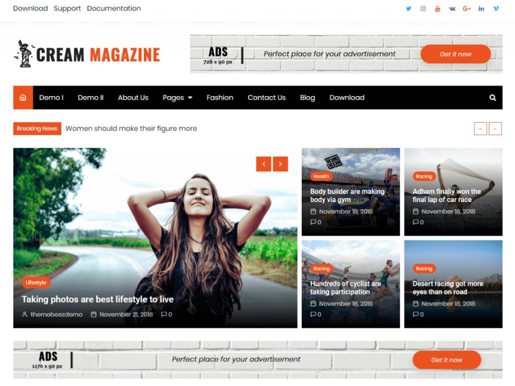 Cream Magazine: WordPress Magazine Themes
