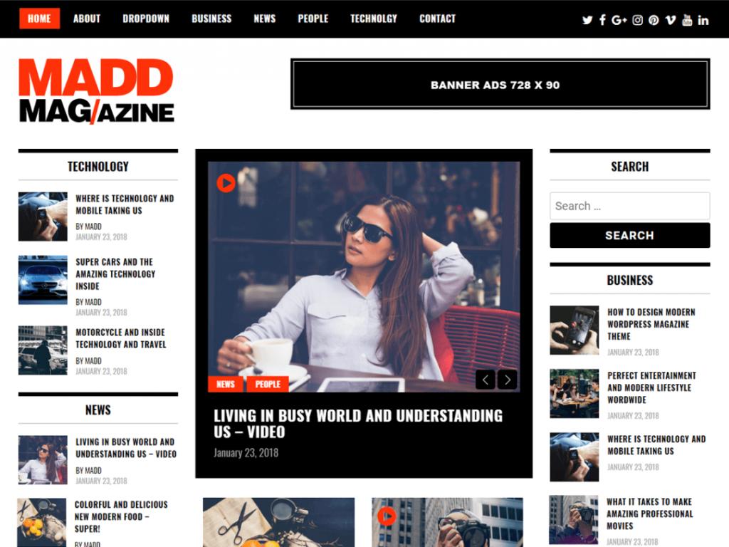 Madd Magazine: WordPress Magazine Themes