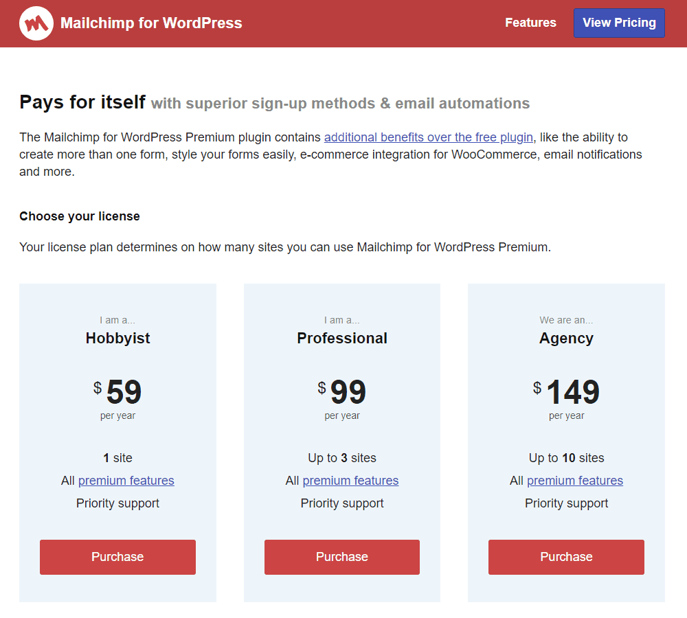 MC4WP Pricing