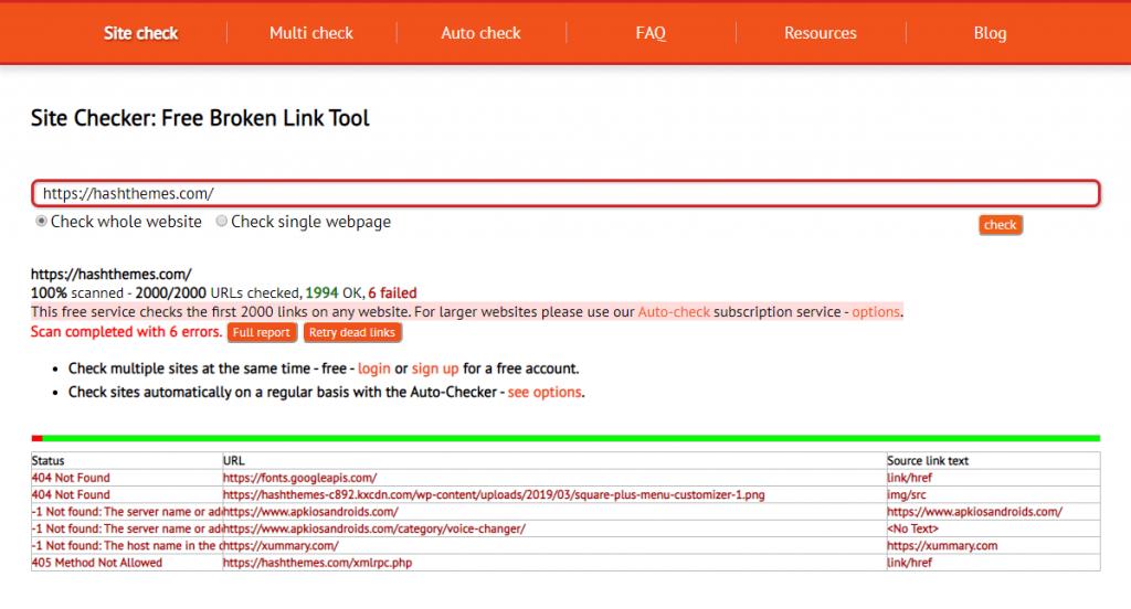 Find Broken Link in WordPress