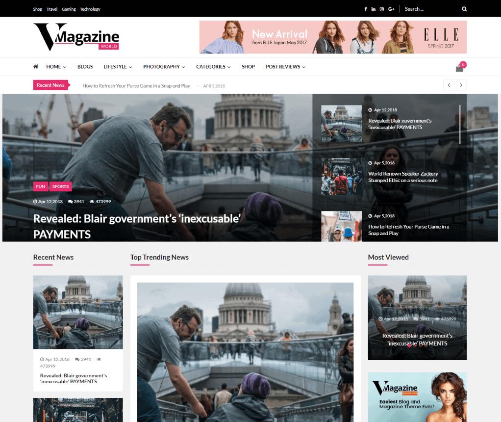 Vmagazine - WordPress News Magazine Theme