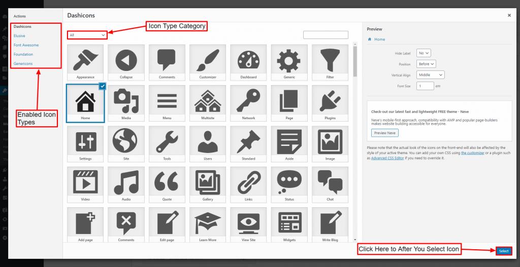 Add Icons on WordPress Menu