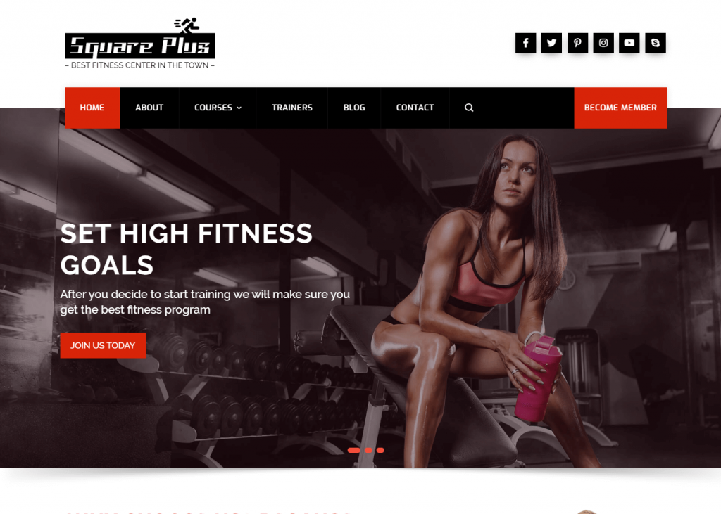 Square Plus: Best WordPress Themes for Gym and Fitness