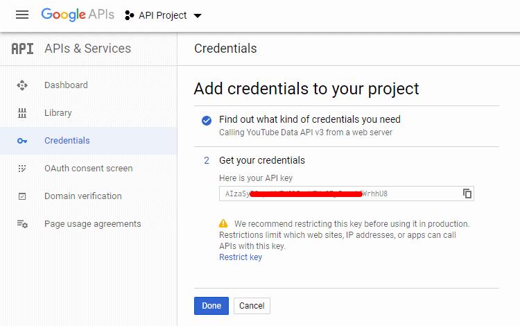 Create Youtube API Key