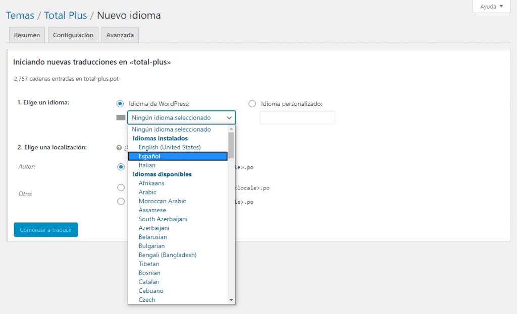 Translate WordPress Theme