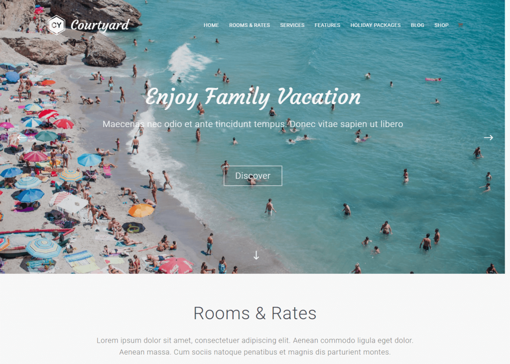 Courtyard: Best Free WordPress Themes for Hotel and Resort