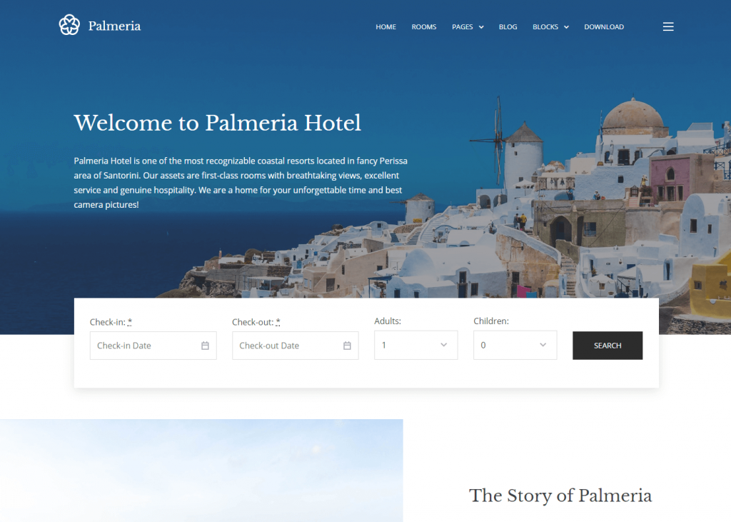 Palmaria: Best Free WordPress Themes for Hotel and Resort