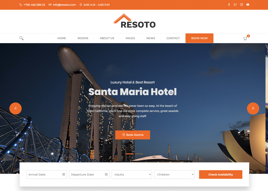 Resoto: Best Free WordPress Themes for Hotel and Resort