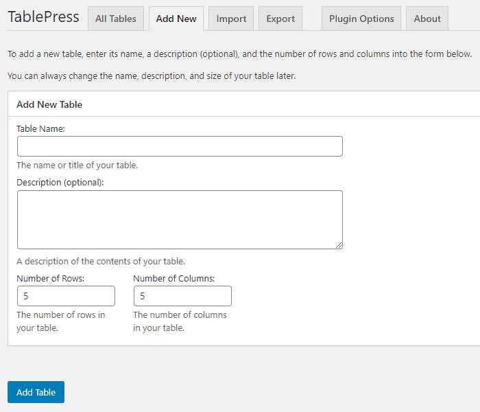 Add Tables on WordPress