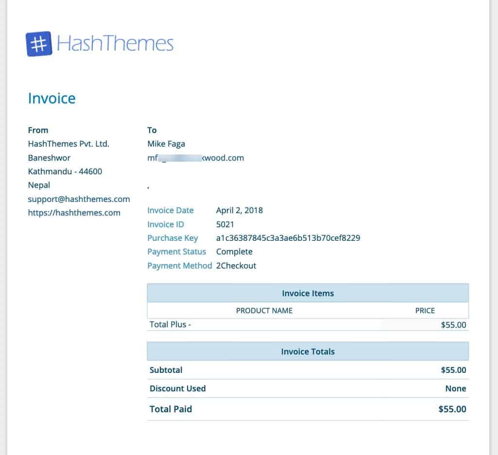 Download Invoice of Premium WordPress Themes